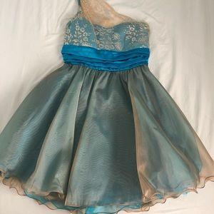 XOXO Blue/Gold/Silver Dress. Size 9.